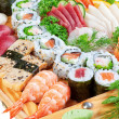 Eastern dainty sushi caviar, salmon close up. — Stock Photo