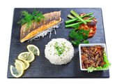 Delicious oriental dish sushi fish and mushrooms. On a white bac — Stock Photo
