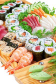 Eastern dainty sushi caviar, salmon close up. — Stock Photo