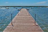 在对小船在海上港口木桥. — 图库照片
