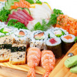 Delicious varieties of exotic sushi seafood. - Stock Photo