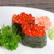 Decorative dish sushi caviar, spices and herbs. — Foto de Stock