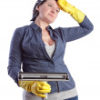 Stock Photo: Tired and exhausted after middle-aged housewife, cleaning the
