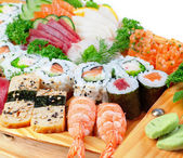 Delicious varieties of exotic sushi seafood. — Stock Photo