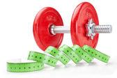 フィットネスとスポーツ白で測定メータのダンベル — ストック写真