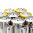 Foto Stock: Alkaline batteries symbol of cleenergy on white background.