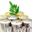 Alkaline batteries symbol of clean energy and green leaf on a wh — Stock Photo