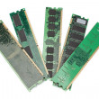 Details of the computer memory ram of the old generation. On a w — Stock Photo