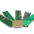 Details of computer memory ram and CPU of the old generation. On — Stock Photo