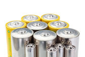 Alkaline batteries symbol of clean energy on a white background. — Foto Stock