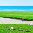 Golf stick and ball on grass against sea. Rake near sand — Foto Stock #24692681