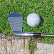 Golf stick and ball support wooden close-up on grass. — Foto Stock #24692717