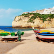 Stock Photo: Portuguese Carvoeiro Beach, classic fishing boats.