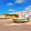 Stock Photo: Portuguese beach villin Carvoeiro classic fishing boats. Summe