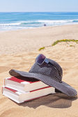 Panama for the sun and reading books on the beach against the se — Stock Photo