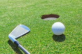 Golf stick and ball on the grass near the hole. — Stock Photo