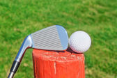 Golf stick upside down on a wooden ball pedestal on the grass. C — Foto de Stock