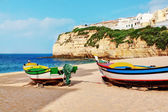 Portuguese Carvoeiro Beach, a classic fishing boats. — Stock Photo