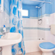 Royalty-Free Stock Photo: Classic blue bathroom. Wide plan.