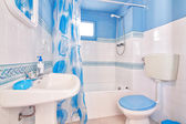 Classic blue bathroom. Wide plan. — Stock Photo