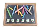 School board to chalk colored chalk and written word school. — Stock Photo