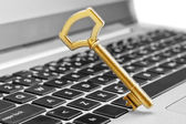 Golden key symbol of security in Internet and computer science. — Photo