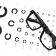 Table for an eye examination by an ophthalmologist with symbols. — Stock Photo