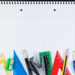 Set of school supplies for education. On the notebook. — Stock Photo