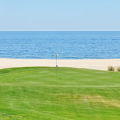 Beautiful view of the golf course to the sea. Portugal, Algarve. — Stock Photo
