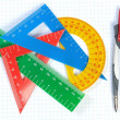 Set of multicolored lines of triangles, protractors and Caliper. — Stock Photo