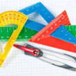 Instruments for drawing in school. Ruler and compass. Close-up. — Stock Photo
