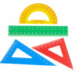 School tools triangle, ruler, protractor. Close-up. — Stock Photo #28729577