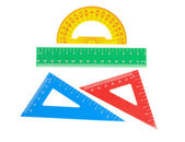 School tools triangle, ruler, protractor. Close-up. — Stock Photo