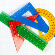 Protractor ruler and items for school and education. On a sheet — Stock Photo