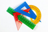 Protractor ruler and items for school and education. On a sheet — Foto Stock