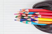 Skolan pennor för att rita i ett fall att spara. på ett blad av pape — Stockfoto