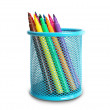 Group of multi-colored felt-tip pens in a blue basket. For drawi — Stock Photo