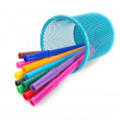 Multi-colored felt-tip pens in a blue basket in the supine posit — Stock Photo