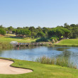 Sports golf park in Portugal. Near lake and fountain. — Stock Photo #33306825