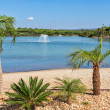 Beautiful scenery of the lake with fountains, a beach and palm t — Stock Photo #33306873