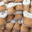 Large group of warm soft slippers for the winter. Close-up. — Stock Photo