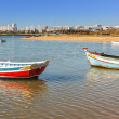 Fishing boats in the bay of the village of Ferragudo. Portugal. — Stok fotoğraf