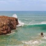 Landscape sea fishermen on rocks fish in the ocean. Portugal. — Stock Photo #37956265