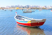 рыбацкая лодка в заливе летом деревня феррагудо. португалия. — Стоковое фото
