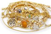 Velká sbírka zlatých šperků — Stock fotografie