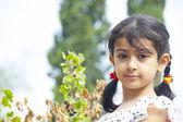 Cute little girl outdoor in summer day  — Zdjęcie stockowe