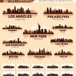 Stock Vector: Skyline city set. 10 cities of US#1