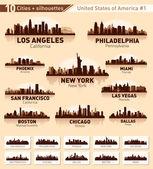 набор город на фоне линии горизонта. 10 городов сша #1 — Cтоковый вектор