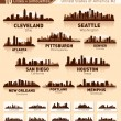 Skyline city set. 10 cities of USA #2 - Imagen vectorial