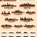 Skyline city set. 10 cities of USA #2 — Stock Vector